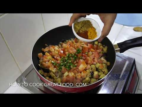 Eggplant Curry Recipe - Easy Indian Vegan Masala Aubergine Brinjal