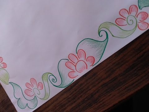 How to draw a border design on paper cards and templates simple but awesome