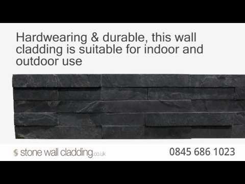Black Slate Stone Wall Cladding - Natural Stone Split Face Mosaic Tiles