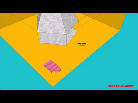 Orthographic projection of Pentagon pyramid through animation