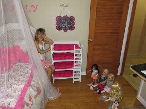 Carly's Dad Builds Quadruple Bunkbeds For Her 4 American Girl Dolls!