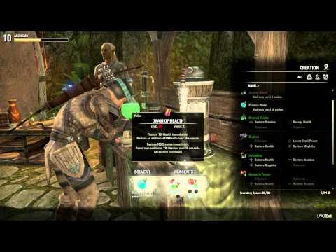 Elder Scrolls Online Alchemy Health + Stamina Potion Crafting