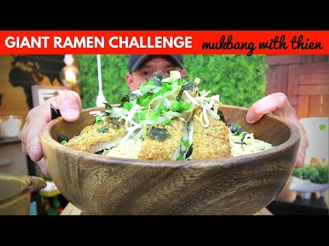 [mukbang/cookbang with THIEN]: GIANT RAMEN 🍜 CHALLENGE (Sapporo Ichiban Ramen)