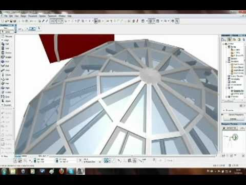 How to create dome shape with the curtain wall in ArchiCAD 15