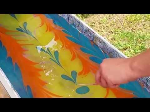 Ebru Silk Scarf Dyeing