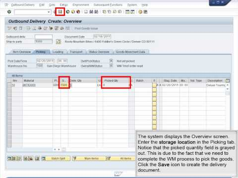 Demo 9.18 Create Outbound Delivery