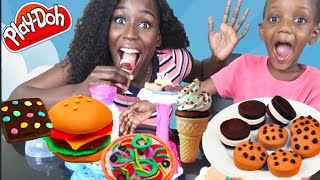 Play Doh Cakes, Brownies, Hot Dogs, Burgers, Cookies and Filling In Play doh Teeth