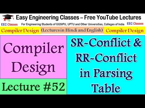 Compiler Design Lecture 52 - SR-Conflict & RR-Conflict in Parsing Table