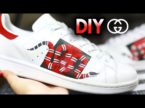 watch b7e59 68965 How To Gucci Snake Custom Shoes From Adidas Stan Smiths  Drawing +  Shading Timelapse