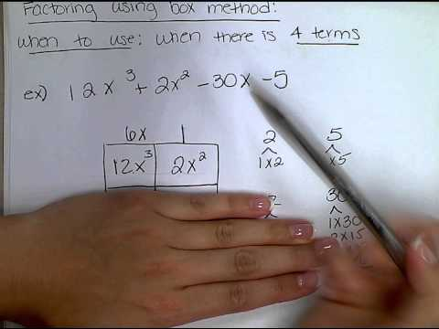 Factoring 4 terms using the box method