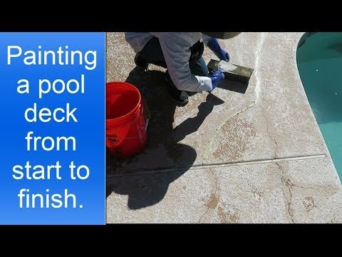 Painting a pool deck.