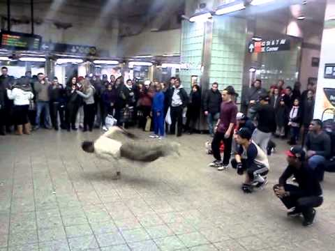 Breakdancing in Times Square subway station.