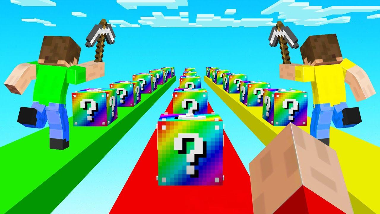 MINECRAFT 1v1v1 RAINBOW LUCKY BLOCK Race! (vs Friends)