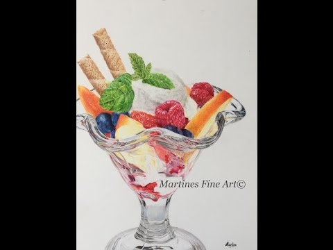 Icecream dessert, realistic drawing with colored pencils on drafting film
