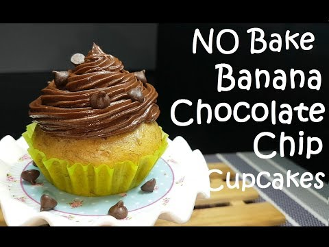 No Bake Banana Chocolate Chip Cupcakes with Chocolate Buttercream Frosting | no bake cupcake recipe