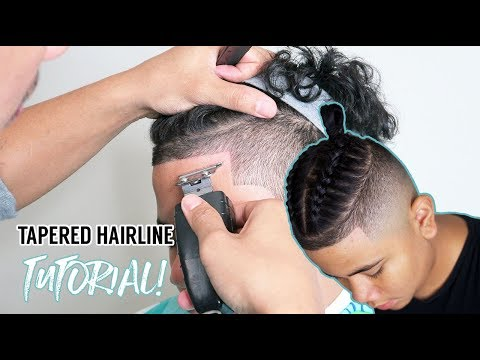 💈 HOW TO DO A TAPERED HAIRLINE | BRAIDED MAN BUN