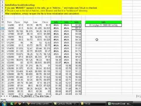 TA Lib Excel Addon installation in Ms Office 2003
