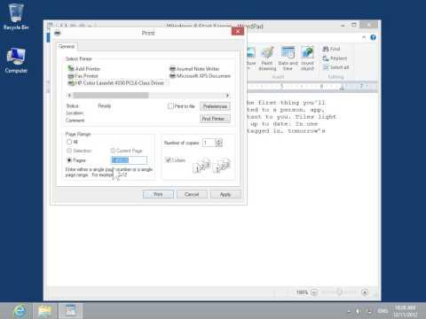 Windows 8.0 Professional - Print a WordPad Document