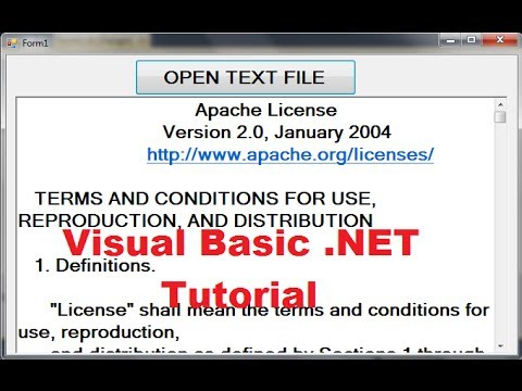 Visual Basic .NET Tutorial 32 - Open File text into Textbox or richTextBox in VB.NET