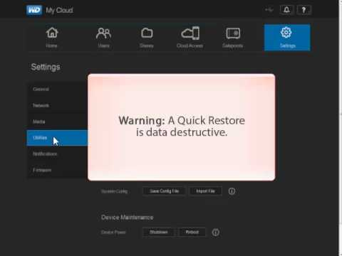WD My Cloud, Restoring the System's Factory Settings - Quick Factory Restore