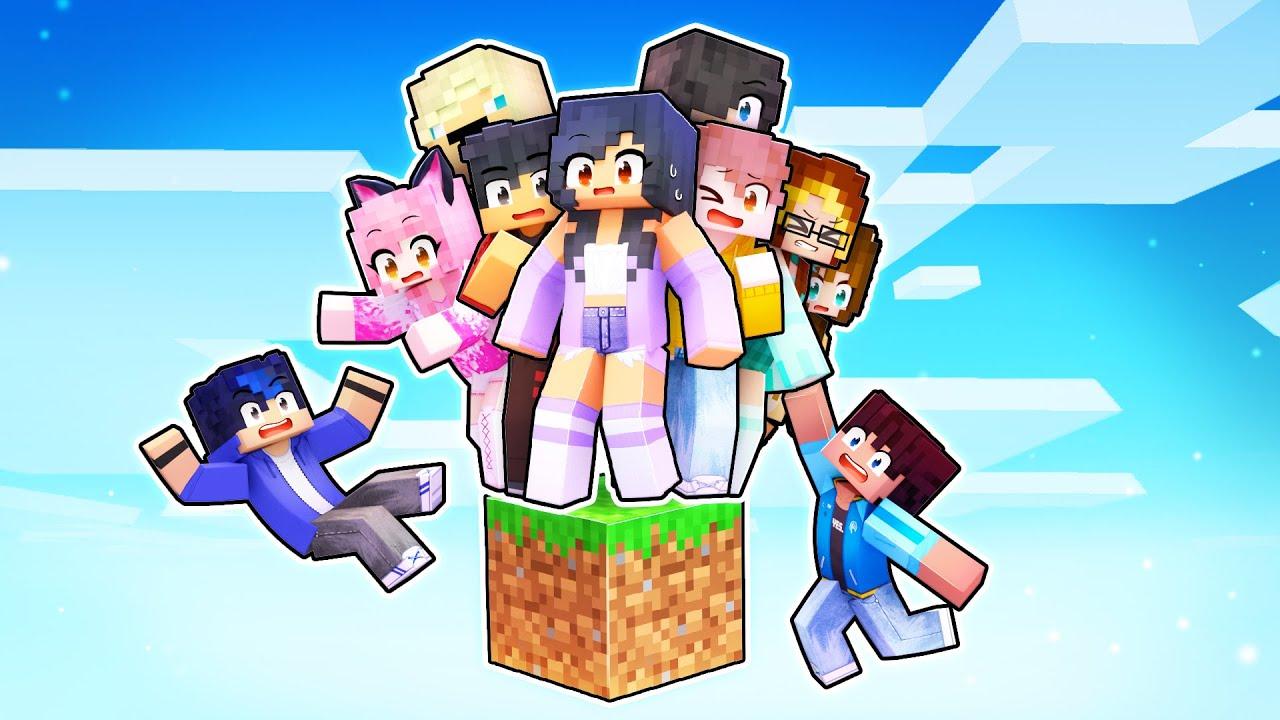 10 Friends On ONE BLOCK In Minecraft!