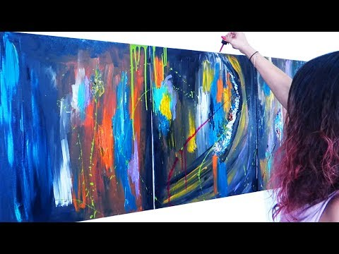Abstract Acrylic Painting Demo On Large Canvas - Part 01/02