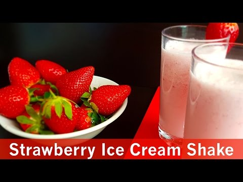 Best Strawberry Ice-cream Shake   سٹرابری آئس کریم شیک - Cook with Huda