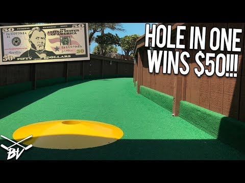 NEARLY IMPOSSIBLE MINI GOLF HOLE IN ONE WINS $50! - CAN WE GET IT?!
