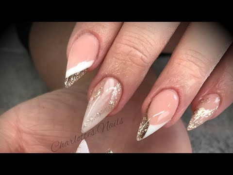 Acrylic nails - pink & white design with glitter