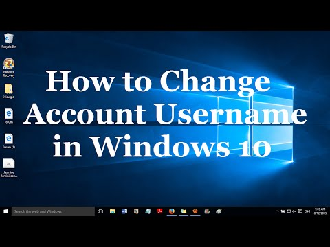 How to change the account username in windows 10