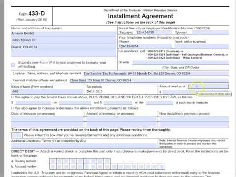 How to Complete Form 433-D Direct Debit Installment Agreement