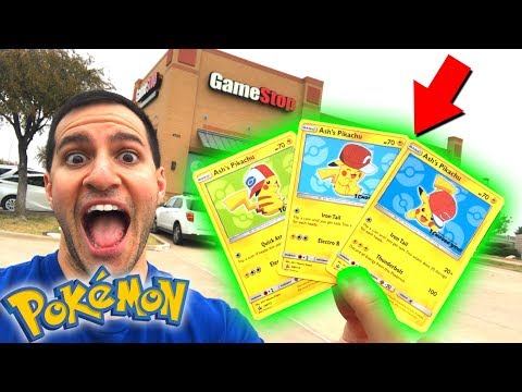 NEW ASH'S PIKACHU POKEMON CARDS AT GAMESTOP! Pokemon Ultra Sun and Moon Official Release Day!
