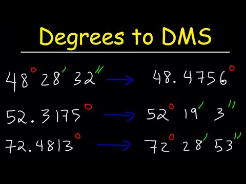 Decimal Degrees to DMS Formula -  Converting Degrees Minutes and Seconds to Decimal - Trigonometry