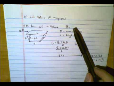 SA and Volume of Trapezoidal Prism