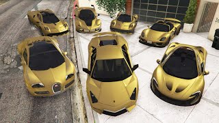 GTA 5 - Stealing Modified Golden Cars with Franklin! (GTA 5 Real Life Cars #91)