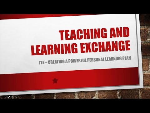 TLE Webinar: Creating a Personal Learning Plan