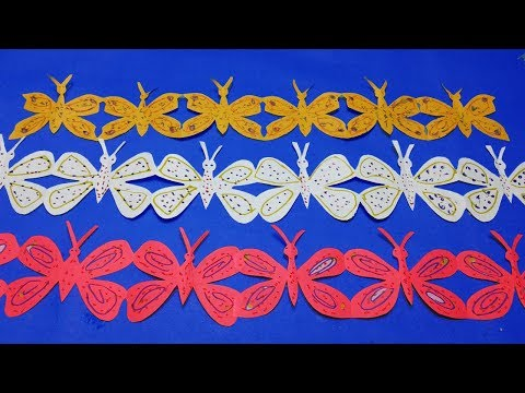 Paper cutting butterfly#How to make simple paper cutting butterfly chain step by step