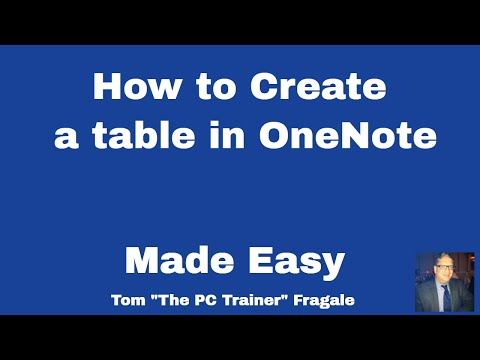 Inserting a table into OneNote - How to create a table in OneNote tutorial for beginners