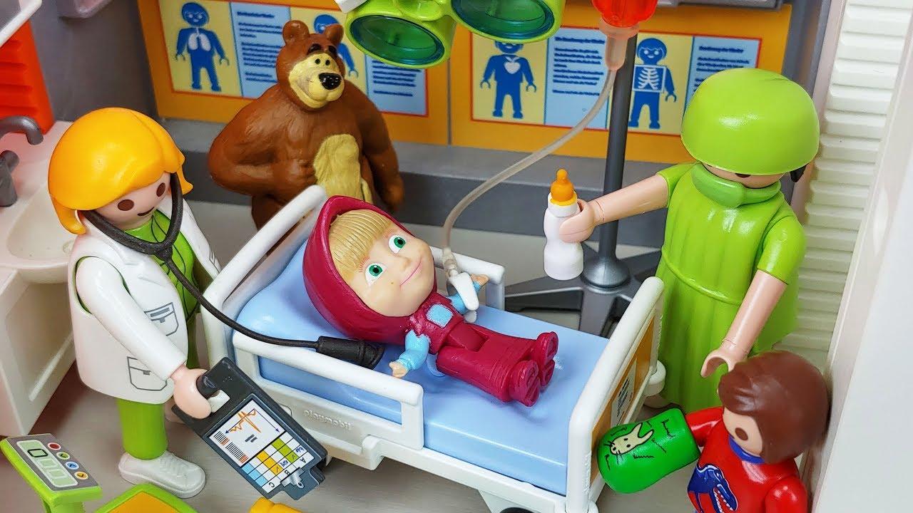 Masha and Bear PlayMobil doctor and Hospital toys Ambulance car play  - 토이몽