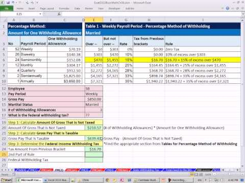Excel 2010 Business Math 56: Federal Income Tax Deduction Percentage Method