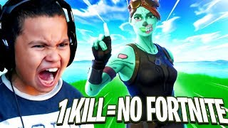 1 KILL = 1 DAY MY LITTLE BROTHER CANT PLAY FORTNITE! MOST INTENSE GAME EVER! FORTNITE BATTLE ROYALE!