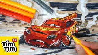 How to draw CARS 3 LIGHTNING McQUEEN crashed badly injured Easy step-by-step for kids | Coloring