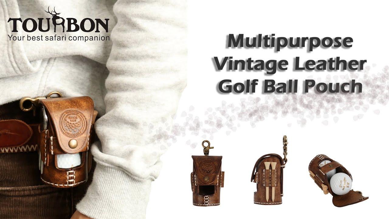 Tourbon|Vintage Leather Golf Ball Pouch