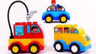 Fire Truck School Bus Police Car Building Blocks Learn Colors for Toddlers and Children