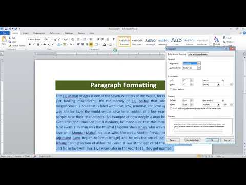 Paragraph Formatting in Microsoft Office Word
