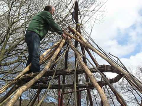 Adjusting the rafters of a roundhouse