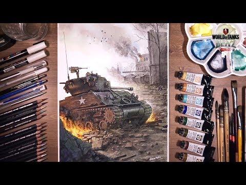 World of Tanks BLITZ: M4A3E8 Fury - Watercolor Painting | drawholic