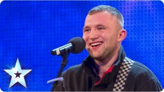 Robbie Kennedy with his acoustic guitar singing 'Iris'- Week 3 Auditions   Britain's Got Talent 2013