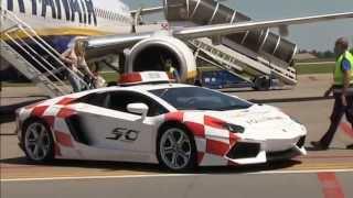 Lamborghini Aventador LP700-4 Follow-me car at Bologna Marconi Airport