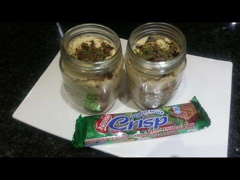 Peppermint Crisp Tart in a jar